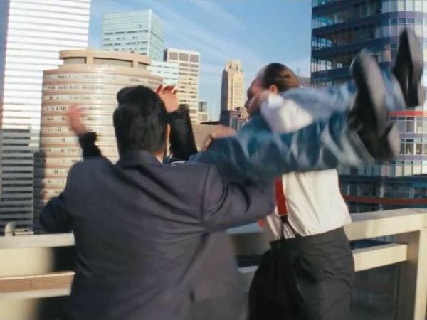 Aufnehmen einer unteressanten Filmszene auf der Terrasse des Penthauses