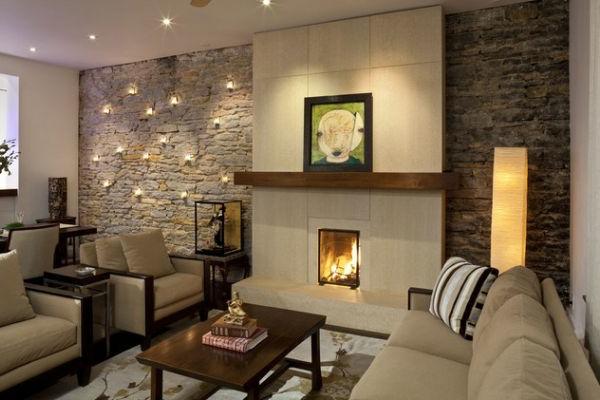 wohnzimmer ideen : wohnzimmer ideen mit steintapete ... - Wand Gestalten Mit Steinen