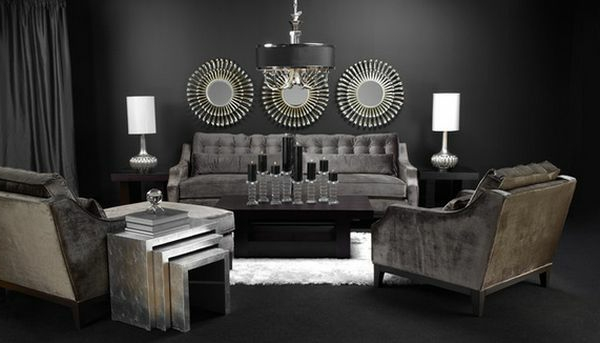 Luxus Nest Tisch und Deko Elemente im eleganten Wohnzimmer