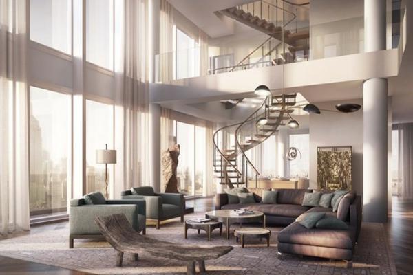 Elegante Treppe und grauem Farbton für ein modernes Haus Design