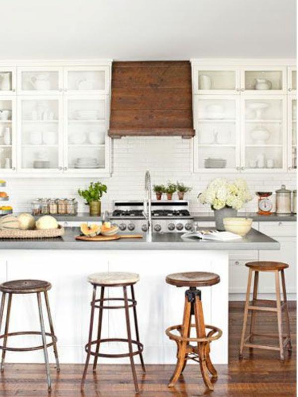 Küche Kochinsel Warmer Holzton Weiß Möbel