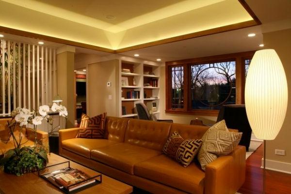 Modisches Sofa Design und schlichte Beleuchtung für ein super schönes Wohnzimmer