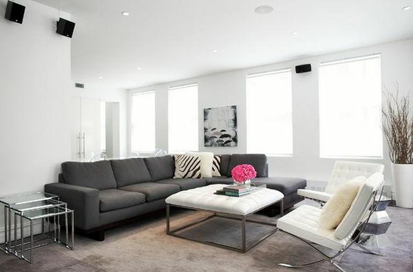 Benutzung von kontrastischen Farben im luxus Wohnzimmer