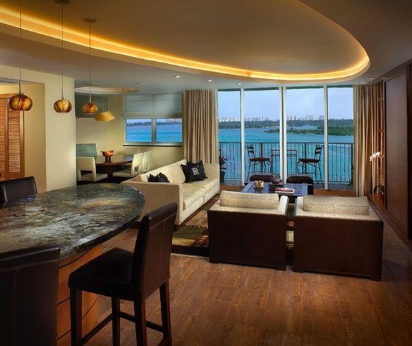 Wohnzimmer mit energiesparender Beleuchtung