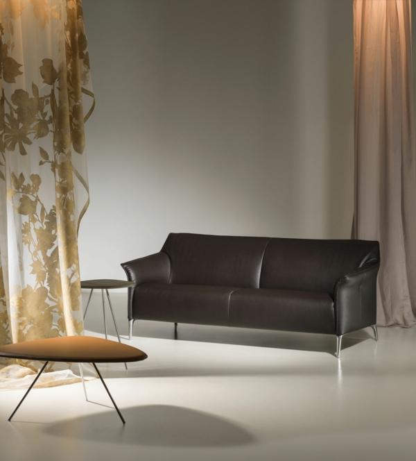 Interessanter Vorhang Und Luxus Sofa In Dunklem Farbton