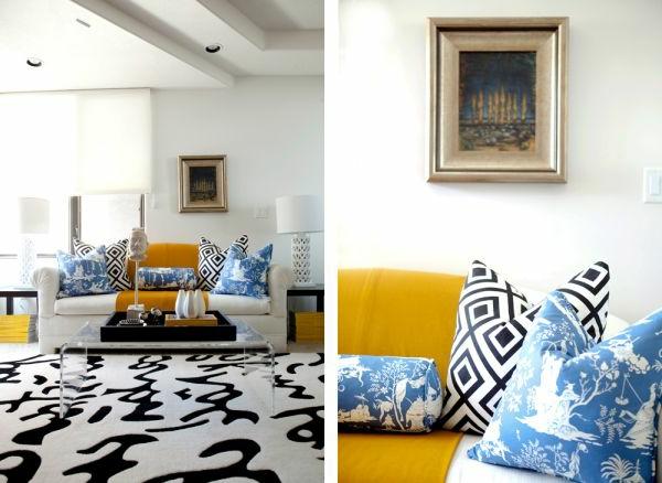 Weiches Teppich und Dekokissen im Wohnzimmer mit bunten Farben