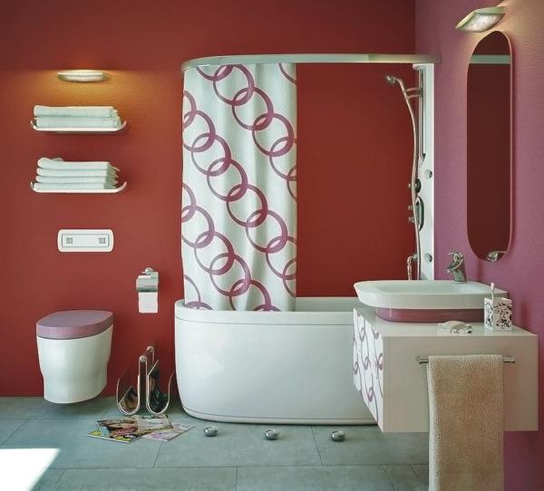 schöne badideen - bunte wandgestaltung und lustige gardinen
