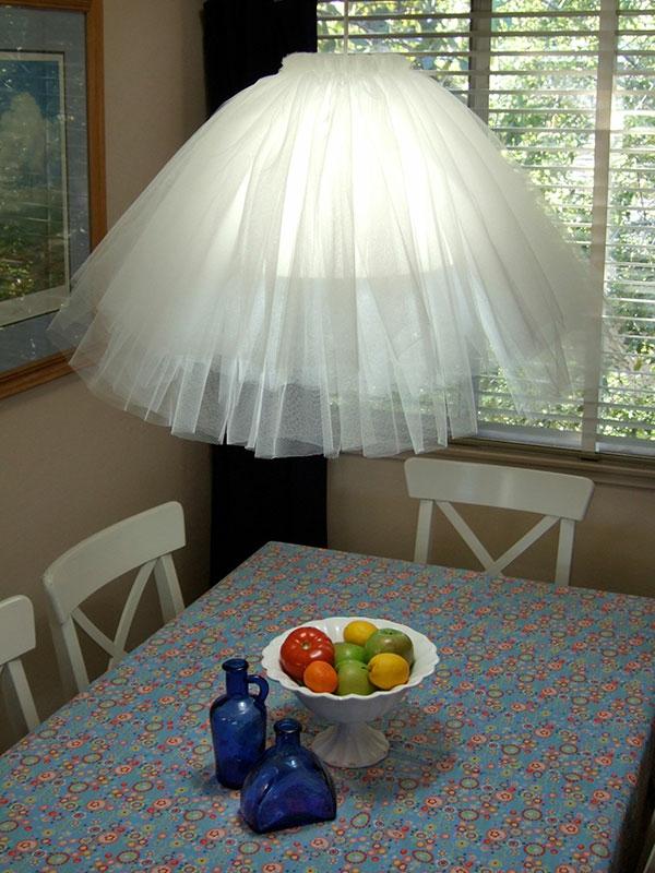 durchsichtiger mädchenrock in weiß als kronleuchter dekoration benutzen