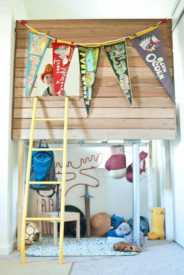 hlzerne brette fr ein aufflliges hochbett design - Kinderzimmer Ideen