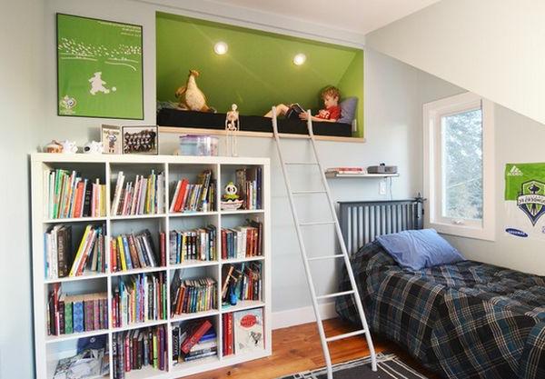 Hochbett in die Wand einbauen- Idee für ein auffälliges Kinderzimmer Design