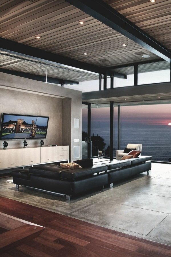 Schlichte Beleuchtung im luxus Wohnzimmer- interessantes Design