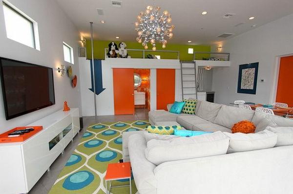 Kinderzimmer Design, direkt mit Wohnzimmer verbunden