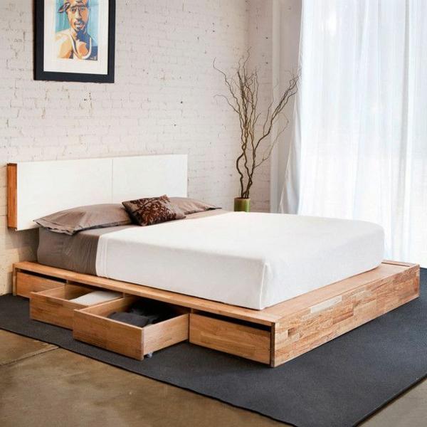 Kopfbrett Im Weiß Und Schubladen Für Ein Super Bett