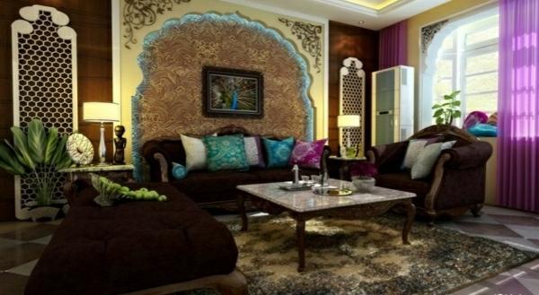 originelle wanddekoration im wohnzimmer - viele dekoartikel