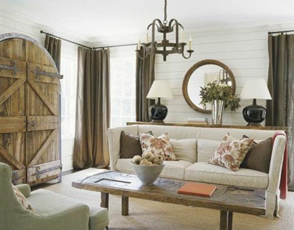 Interessante Farbe für die Vorhänge im Wohnzimmer mit modernem Interueur