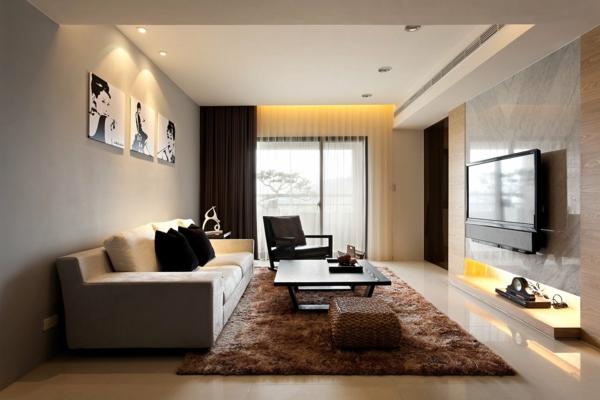 Luxus Wohnzimmmer Mit Einem Grossen Sofa Und Flaumigem Teppich