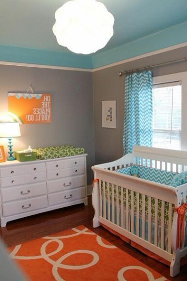 orange und blau fürs babyzimmer