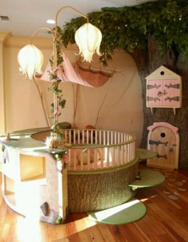 stehlampen und rundes bett fürs babyzimmer