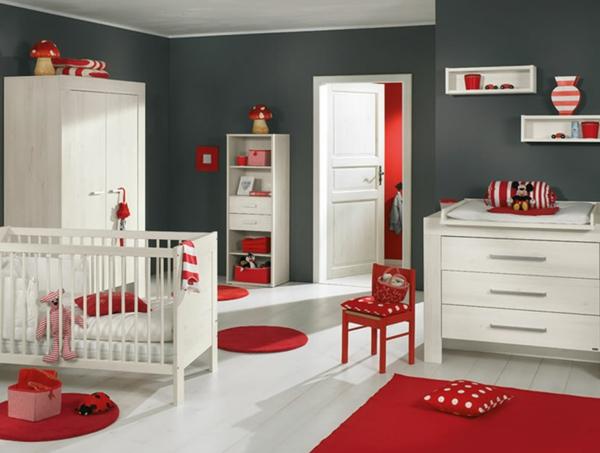 rote weiße und graue farben fürs babyzimmer