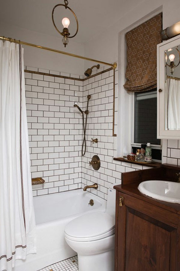 baddesign mit brauner gardine kleine badewanne