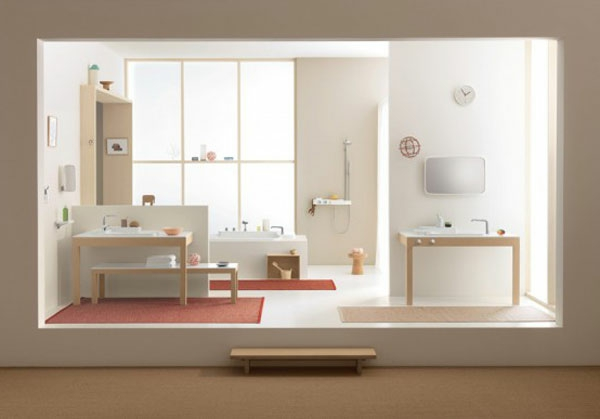 badideen - rosige teppiche und helle bademöbel