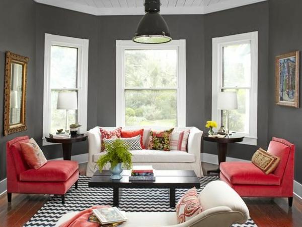 kleines wohnzimmer in grau streichen