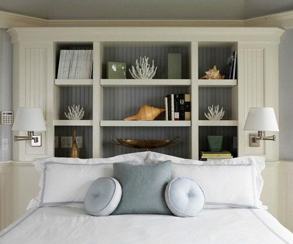 Schönes Modell von Betten- Regalsystem als Bett Kopfteil