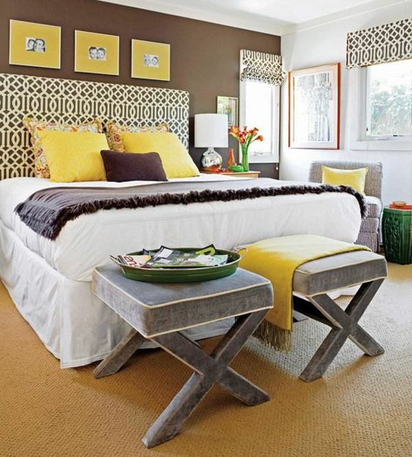 Auffälliges Design vom Bett in grellen Farbtönungen