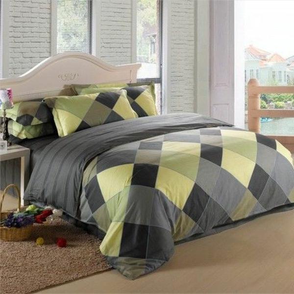 grüne und graue farbe fürs schlafzimmer mit bettwäschen ratutenförmig