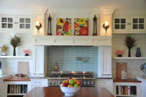 interessante küchenspiegel ideen - küchenfliesen in hell blau
