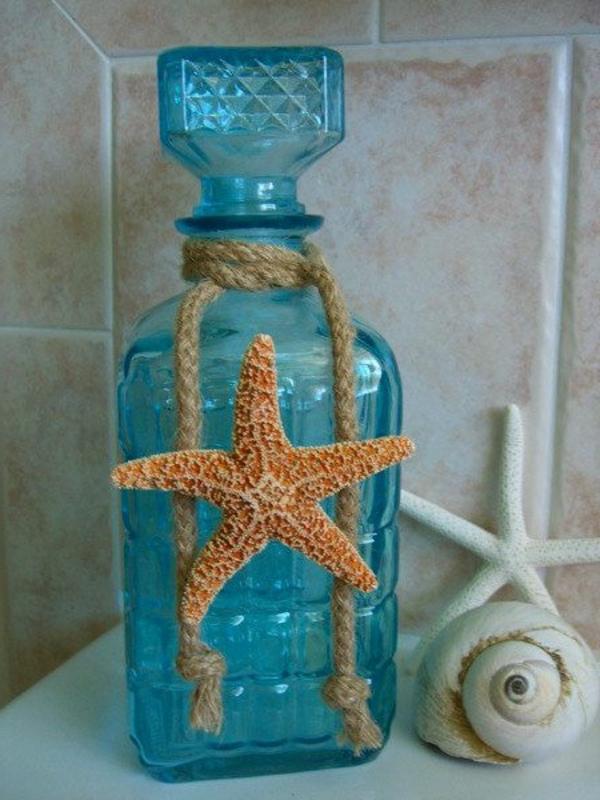 dekorativer seestern und ein kleines seil für flasche deko