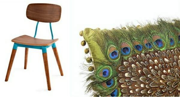 pfau feder für dekokissen und hölzerner Stuhl - modern