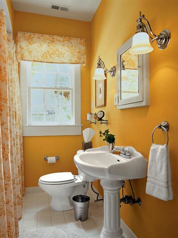 modernes badezimmer einrichten - lustige tapete und kleines spiegel mit weißen rahmen