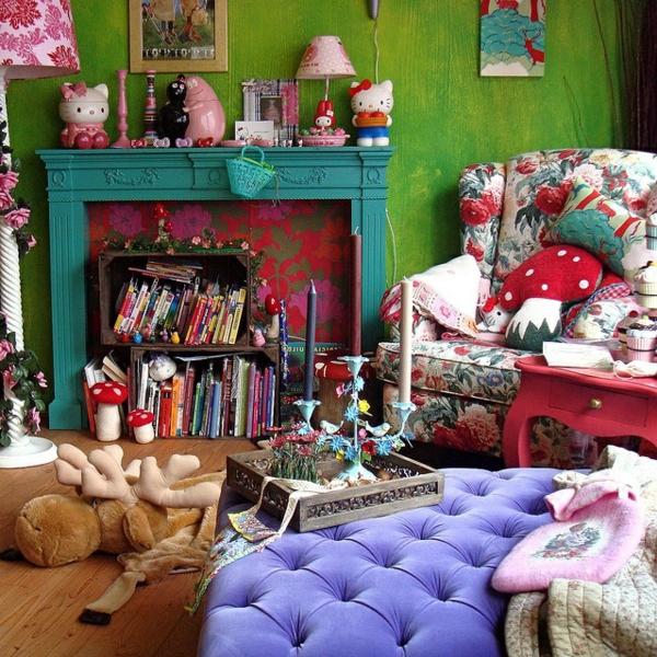 wohnzimmer mit einer bunten und modernen frühlingsdeko