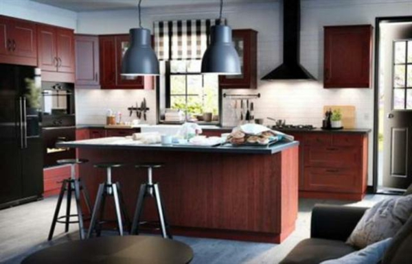 küche modern gestalten - kochinsel barhocker in grau und braun