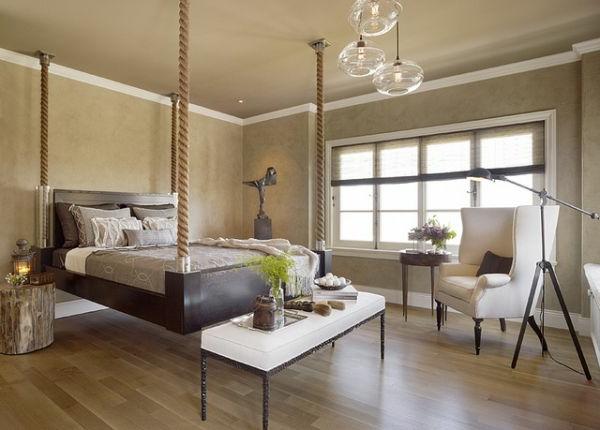 bett design - von der decke hängend- schlafzimmer