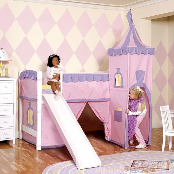 etagenbett mit rutsche im kinderzimmer - wie einen Schloss aussehen