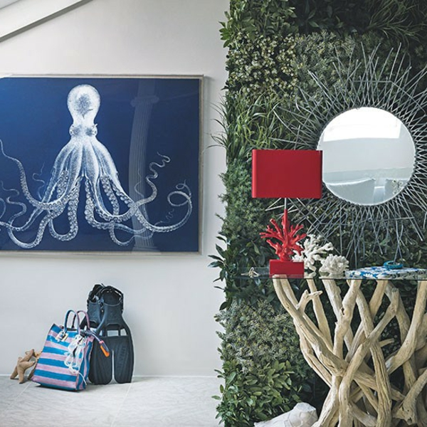 flurgestaltung mit wunderschönen deko-elementen- graswand gemälde