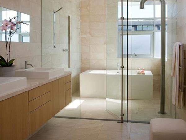 zwei waschbecken im modernen badezimmer - wand aus glas