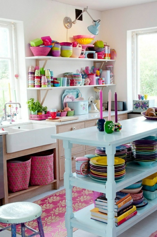 moderne küchen farbe - weiß mit bunten elementen kombinieren