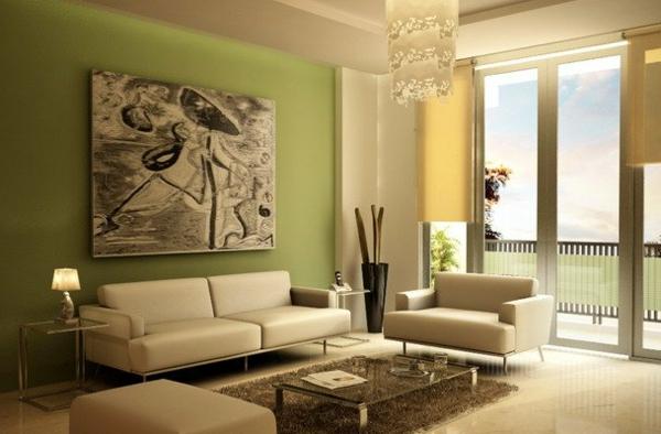 Gut Grüne Wandgestaltung   Wohnzimmer Luxus Möbel Riesiges Gemälde Wohnzimmer  Streichen ...