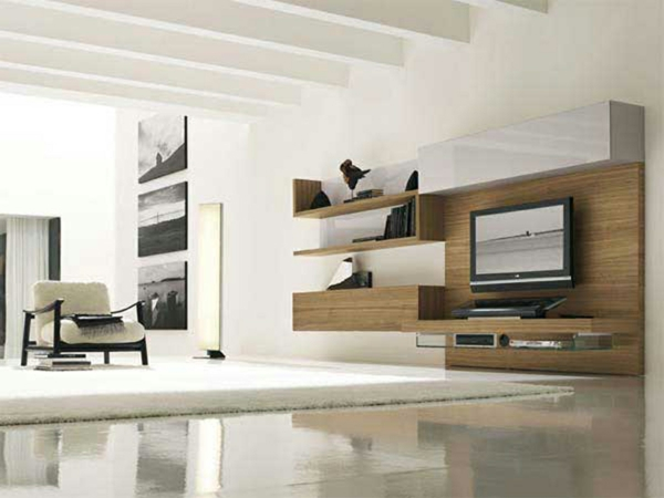 Modernes Wohnzimmer Mit Schrank Aus Holz Und Bilder In Weiss Schwarz