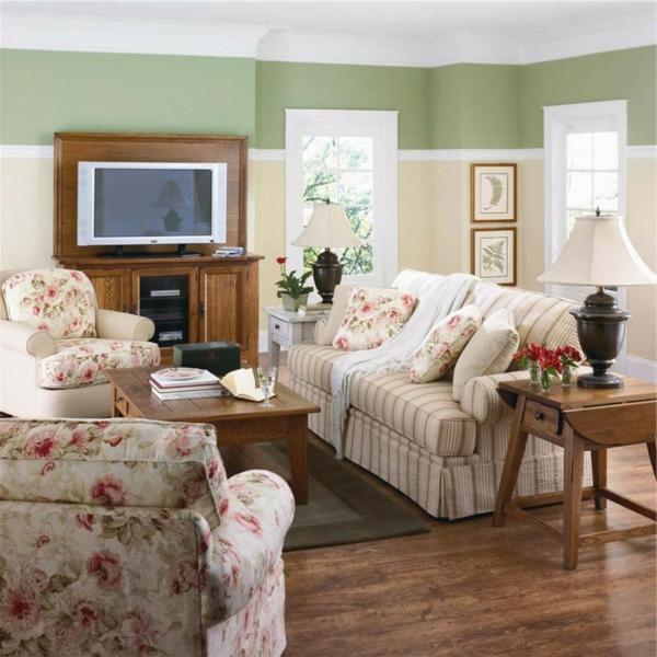 wohnzimmer mit drei farben an der wand