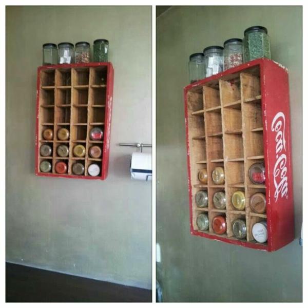 idee für gewürzaufbewahrung - coca cola kasten