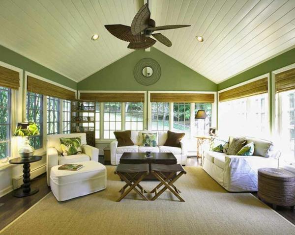 wohnzimmer mit moderner gestaltung - grüne weiße und braune farbe