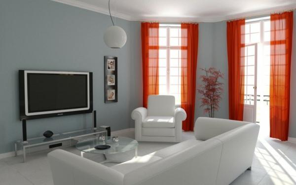 wohnzimmer mit grauen wänden und roten gardinen, die durchsichtig sind