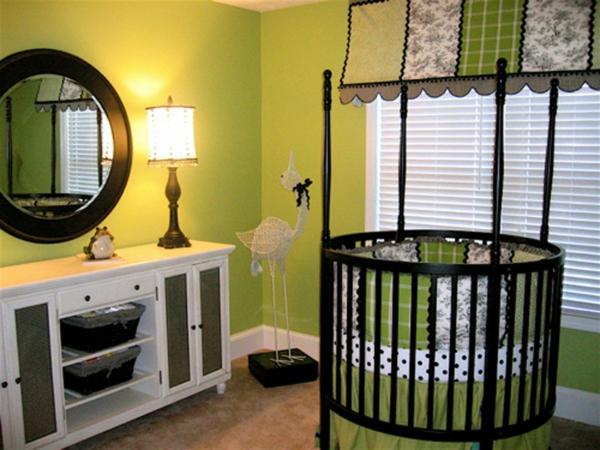weißer schrank spiegel grüne farbe für babyzimmer gestaltung