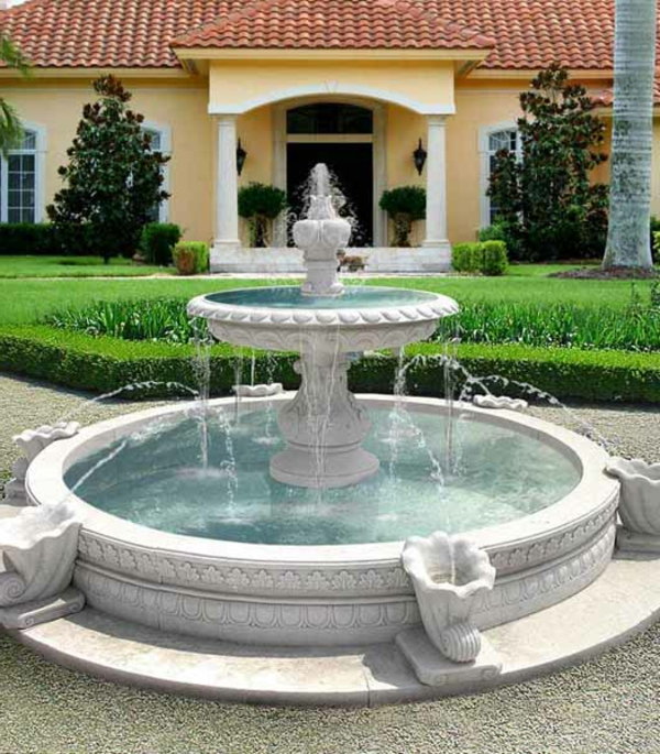 luxus wasserbrunnen auf drei etagen im garten - herrenhaus gestalten
