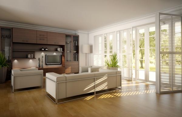 design wohnzimmer ideen:designer wohnzimmer mit einem sofa in weiß und einem hölzernen
