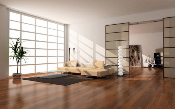riesiges wohnzimmer modern einrichten - luxus couch und extarvagante türe
